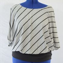 annabelle Black & Gray Striped Blouse