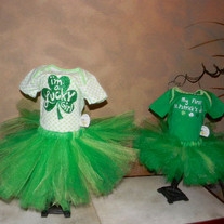 St Patrick's Day Patty's Day Lucky Tutu Dress Set Baby Girls up to 24 mos