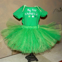 My First St Patrick's Day Tutu Dress Set for Baby Girls Skirt and Onesie Outfit