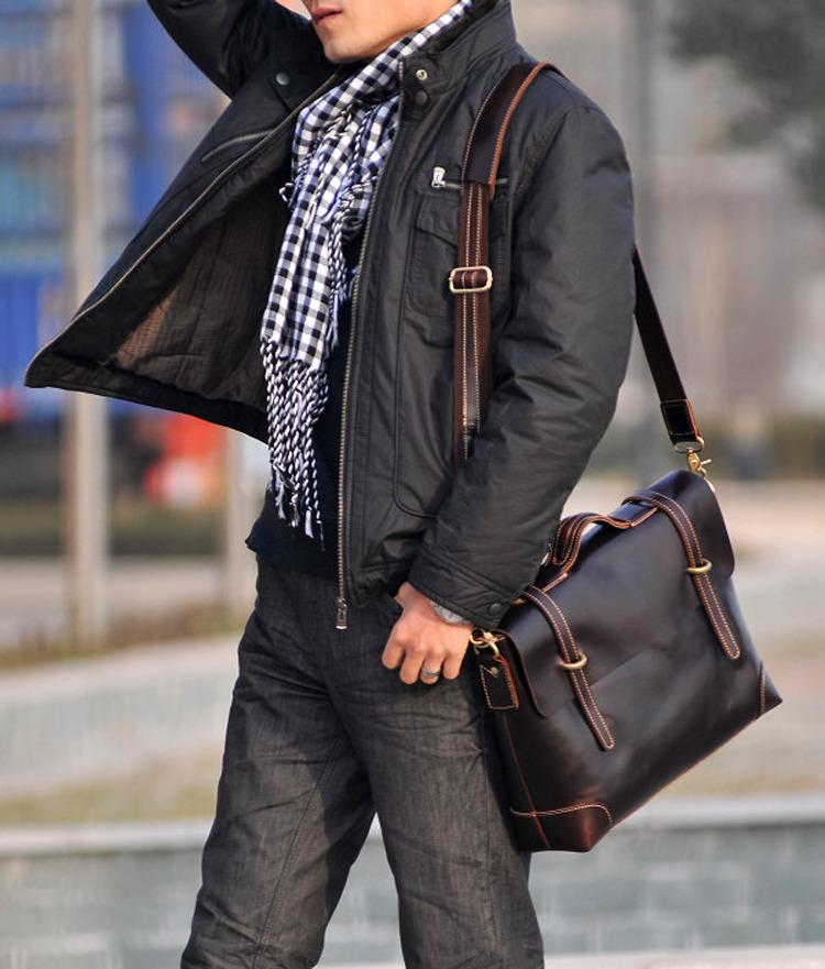 Men's Handmade Leather Briefcase / Leather Messenger Bag / 13