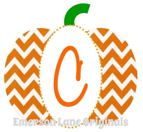 Chevron Pumpkin With Monogram Emerson Lane Originals
