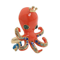 Betsey Johnson Inspired Orange Octopus Aquatic Themed Ring