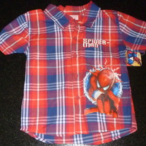Red/Blue Plaid Spiderman Short Sleeve Shirt-NEW-Size 2T