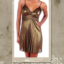 70's Disco Style Gold Shimmer Dress