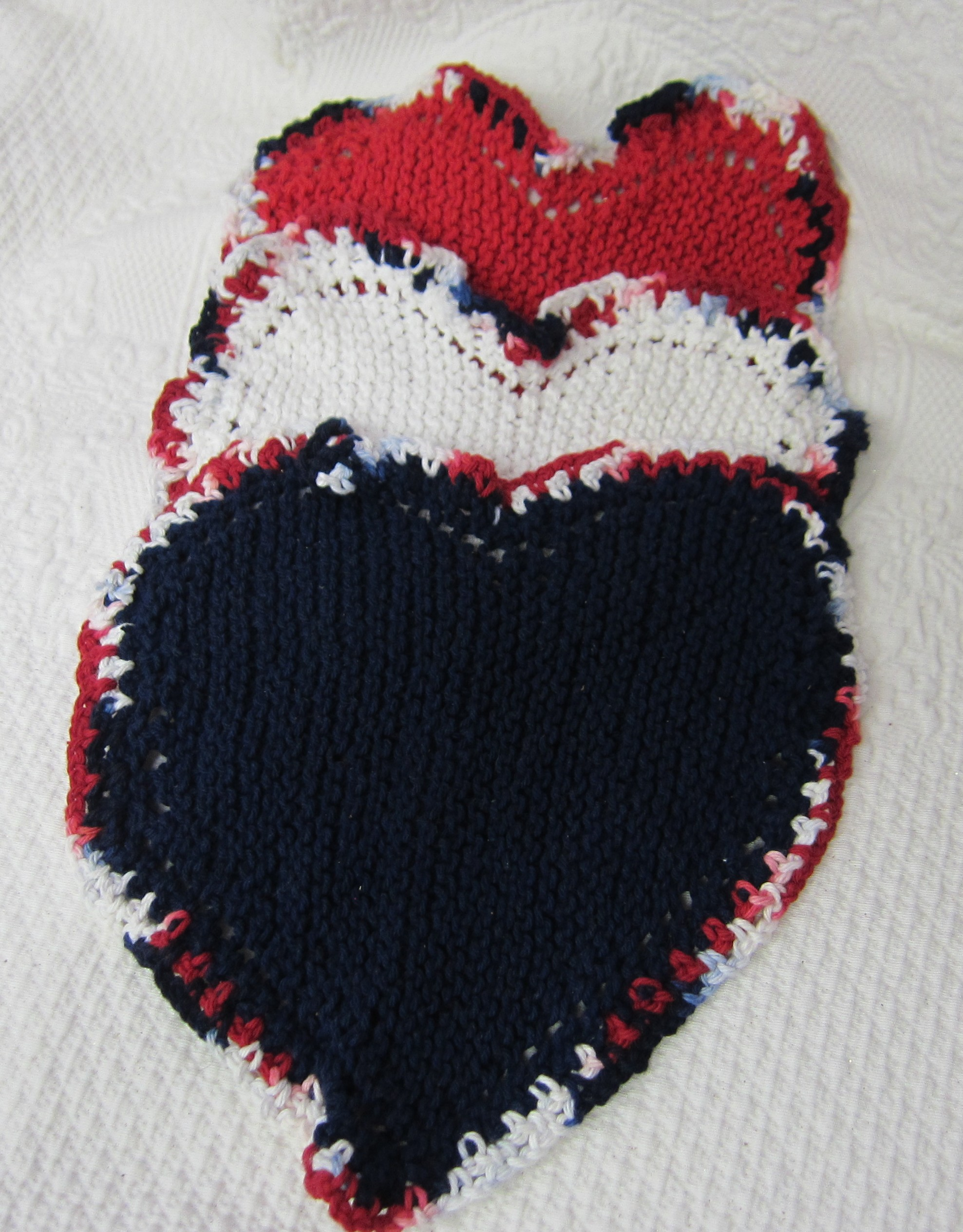 Knit Heart Shaped Dishcloth/Washcloth/Dish Rag/Wash Rag Set of three Made wit...