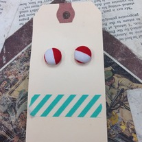 Red Patterned Button Earrings *More patterns available