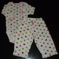 Long Sleeve Heart Onesie with Matching Pants-Just One You By Carter's Size 6 Months  CLM1