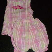 Pink/Green Plaid Sleeveless Shirt and Shorts-Baby Crew Size 6-9 Months  CLM1