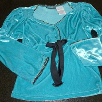 Long Sleeve Turquoise Shirt with Black lining and Tie in Middle-Mary Kate and Ashley Size 7/8