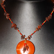 Red and Black Jasper Necklace and earrings