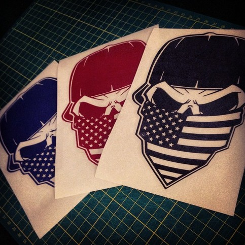 American Flag Bandana Skull Decal 183 American Die Cut