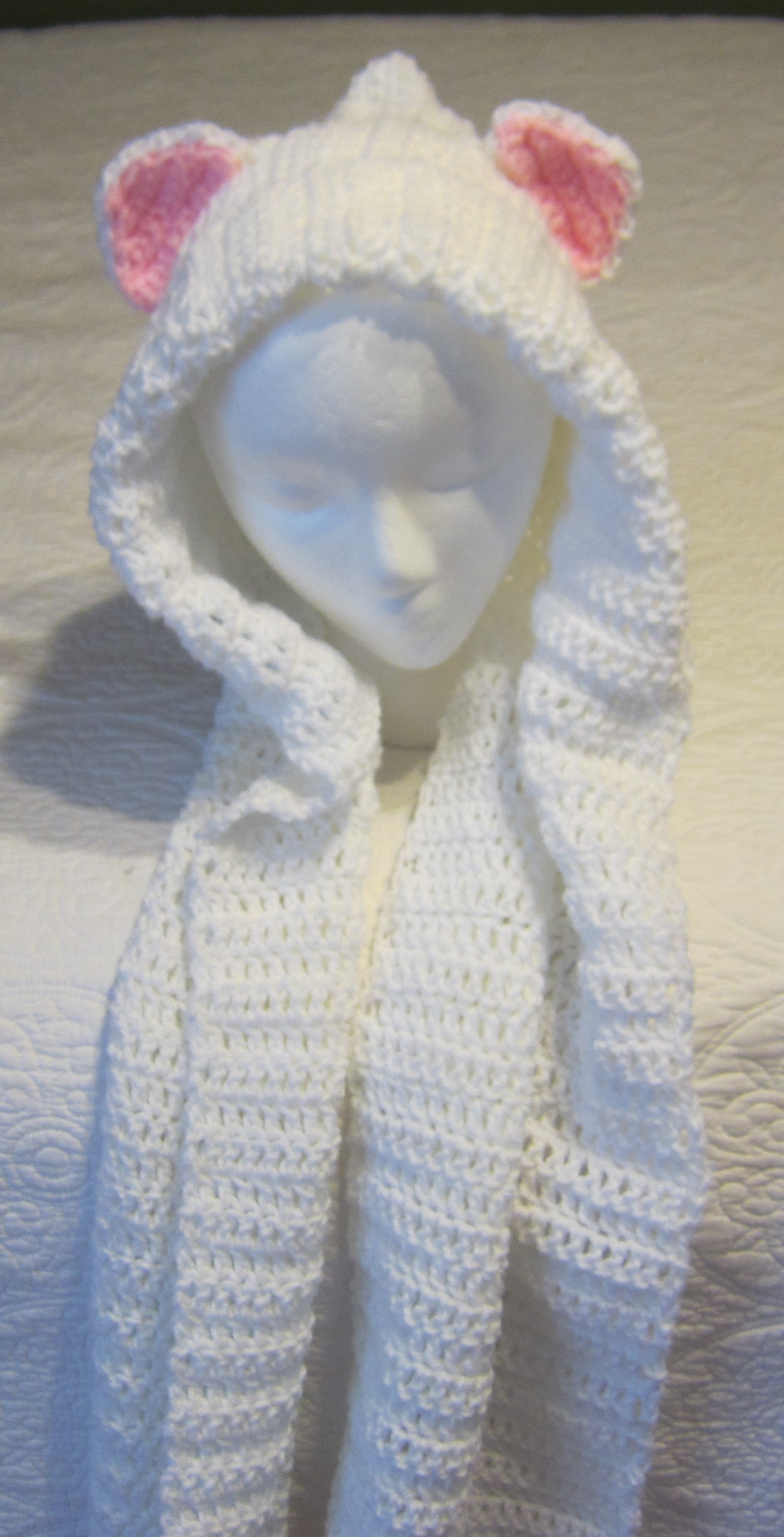 Crochet Pattern Hooded Scarf With Ears : Crochet, Hooded Cat Scarf,Cat Ears,White Hooded Scarf ...