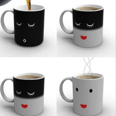 Smilling Face Morning Mug Magic Heat Sensitive Color Change Coffee