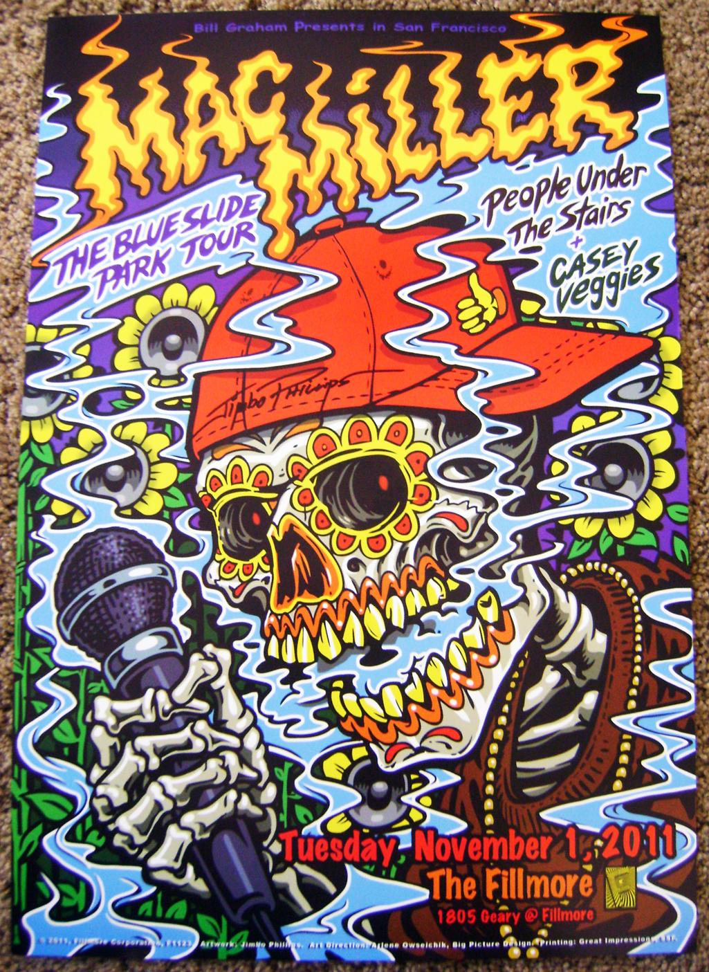 Poster design on mac - Signed By The Artist Jimbo Phillips Mac Miller 2011 Fillmore Poster