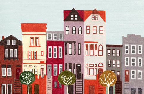 Brooklyn new york city large colorful illustration art for Art and craft store in brooklyn ny