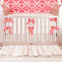 Ivory & Coral Silk Crib Bedding Set