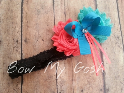 Coral & Teal Shabby Flower Headband