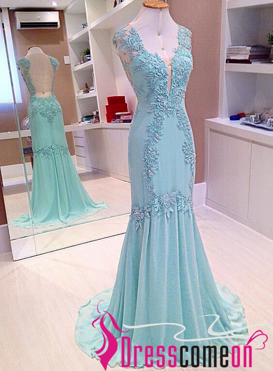 Stunning Mermaid V Neck Backless Light Blue Lace Chiffon Prom ...