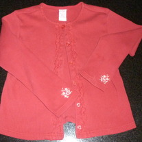 Red Cardigan with Flowers on Sleeve-Gymboree Size 7