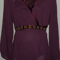 Burgundy Sheer Top with Built in Cami and Jewels-Motherhood Maternity Size 2X