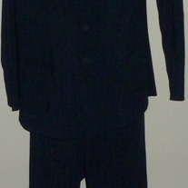 Navy Blue Pin Stripe Pant Suite-Tomorrows Mother Size XL