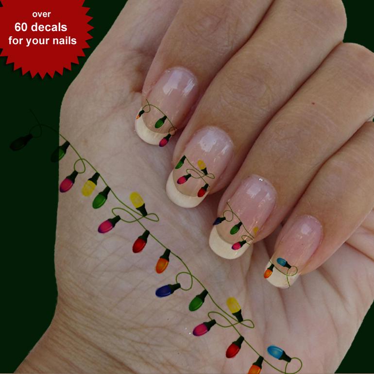 Christmas lights nail art, nail art, 4 strips Waterslide stickers ...