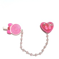 pink white lollipop strawberry bow heart double brooch set w pearl chain