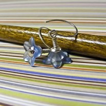Silver and Blue Wrapped Lucite Earrings