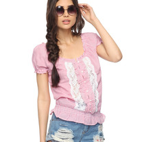 M - red white lace stripe puff sleeve blouse top