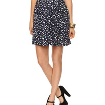L full twirl pleated white polka-dot navy blue rockabilly skirt