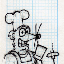 Sketch Card: Grilling Weasel