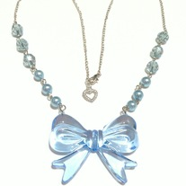 big pretty blue bow pendant necklace pearl bead silver plated chain