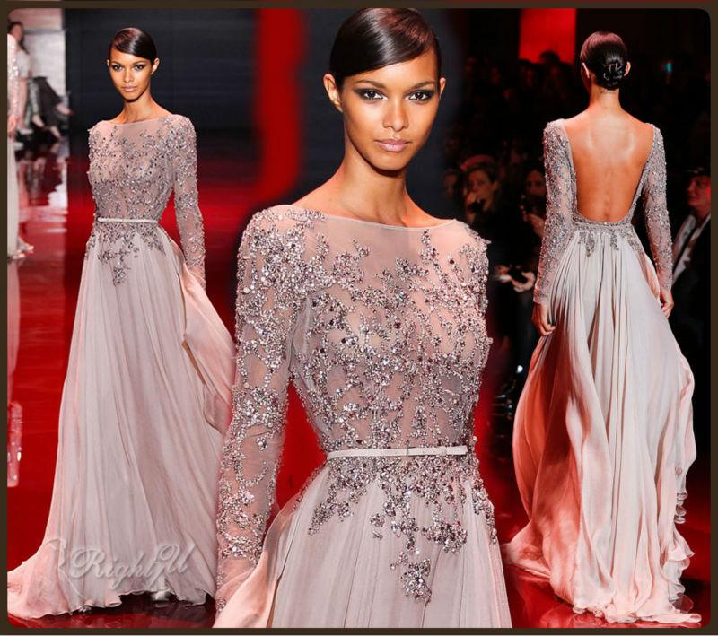 Long Sleeve Beaded Crystal Prom Dressevening Dressbridal Dress