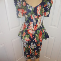 Vintage  Blue Flower Peplum Dress Size 8!