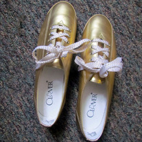 Vintage 90's Gold Lace Up Oxford Shoes Size 9