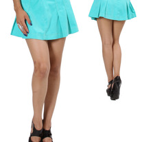 In Small & Med - aqua blue corduroy flare rhinestone pleat mini skirt