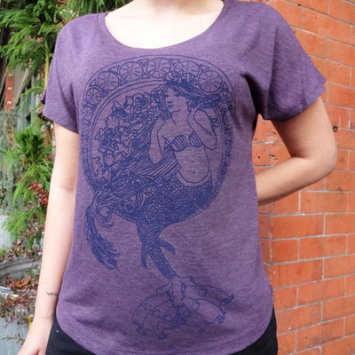 Mermaid tshirt womens purple heather cotton blend by revival ink