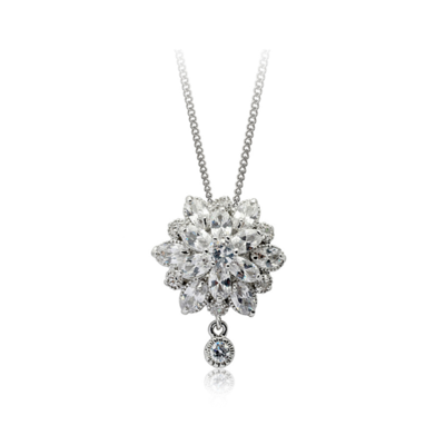 Fine jewelry collection: 18k platinum plated diamond flower shaped necklace♥