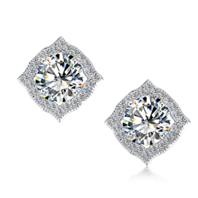 Fine jewelry collection: round diamond square earrings♥