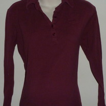Long Sleeve Burgundy Polo Style Top-Take Nine Maternity Size XL  CLLO
