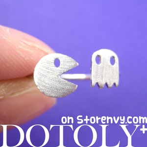 Adjustable Pac Man Pacman Arcade Ghost Pixel Ring in Silver