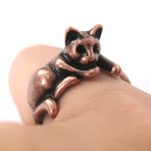 Miniature Kitty Cat Relaxing Ring in Copper - Sizes 5 to 9 Available