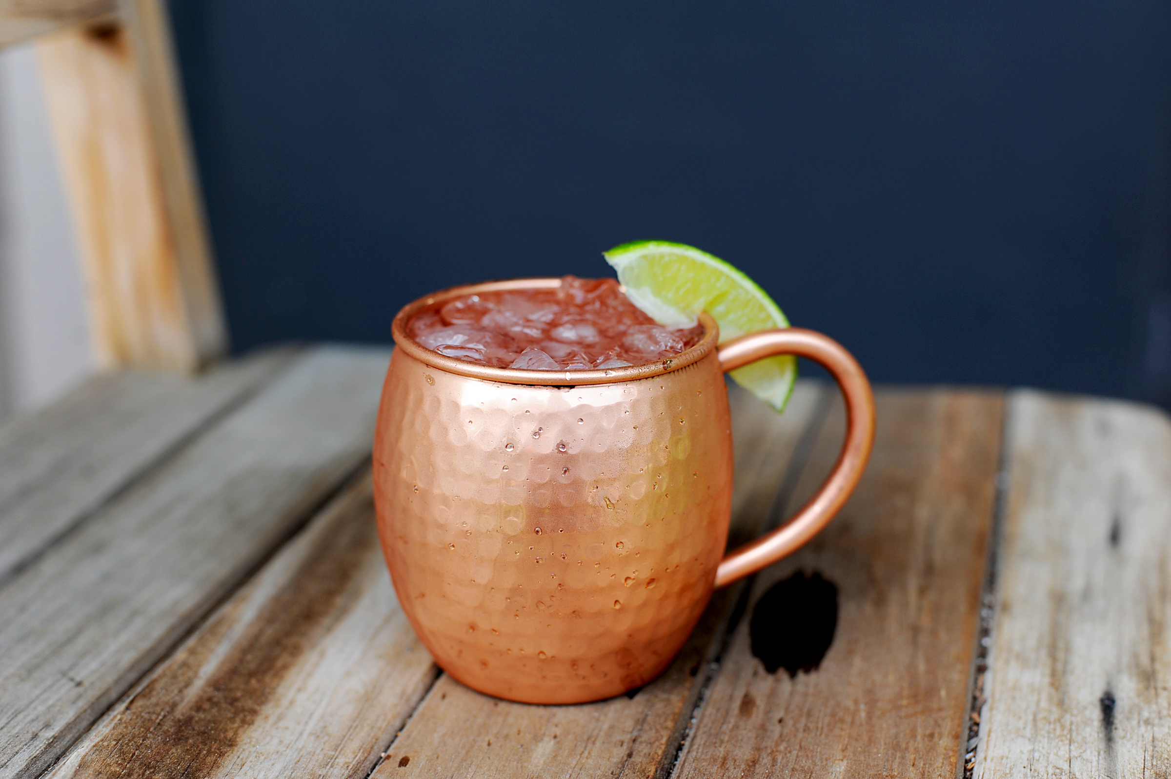 16 oz barrel shaped hammered copper moscow mule mug thumbnail 1