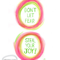 """Joy Stealer"" Pink/Green, 5x7 Matte Print Inspiring Watercolor Quote Illustration"