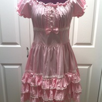 pink white lace victorian lolita puff sleeve fitted gathered dress