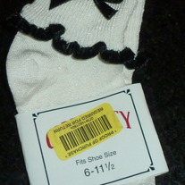 White Socks with Black Bow/Ruffle-Size 6-11 1/2