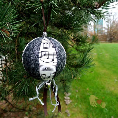 Music Black Sparkle Christmas Ornament