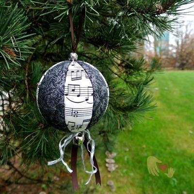 Music Black Sparkle Christmas Ornament