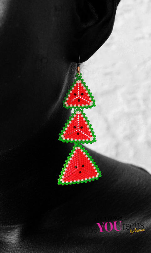 Watermelon Inspired Beaded Earrings · beYOUteous · Online Store ...