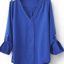 Chiffon V Neck Studded Shoulder Blouses